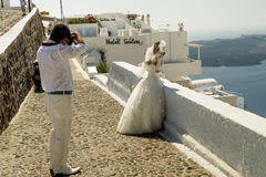 Wedding on Santorini's island Royalty Free Stock Photo