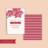 Wedding save the date card with red orchid flowers Royalty Free Stock Image