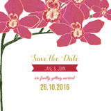 Wedding save the date card with red orchid flowers Stock Photos