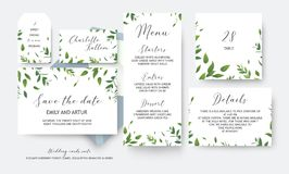 Wedding save the date, menu, label, table number, info cards vector design. Botanical, greenery, rustic, watercolor style art royalty free illustration