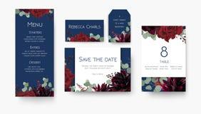 Wedding save the date, menu, label, table number, place card flo. Ral design set. Vintage vine Red rose flowers, burgundy dahlias, eucalyptus silver branches &