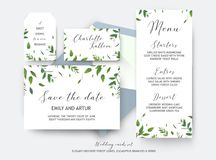 Wedding save the date, place card, label cards vector design. Bo Royalty Free Stock Photos