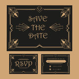 Wedding Save The Date and RSVP Card - Art Deco. Save the Date - Wedding Invitation Card - RSVP - Art Deco Vintage Style Stock Photos