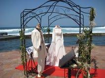 Wedding scene at Tenerife. Wedding Exhibition seaside at canary island, Tenerife stock images
