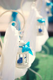 Wedding scenery of blue and white color Royalty Free Stock Images