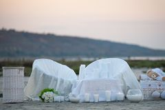 Wedding by the sea. Details of wedding decoration at the seaside. Wedding decor near the place of the wedding ceremony Stock Photo