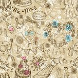 Wedding seamless pattern. With doodles, illustration Stock Photo
