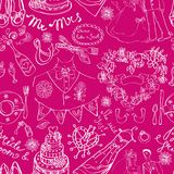 Wedding seamless pattern. With doodles over pink, illustration Royalty Free Stock Photo