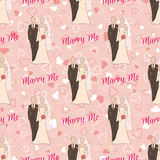 Wedding seamless pattern with bride and groom silhouettes Royalty Free Stock Photos