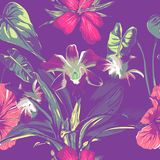Wedding seamless pattern design with exotic tropical flowers and leaves. vector.  Stock Photo