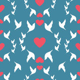 Wedding seamless pattern doves and hearts Royalty Free Stock Photos