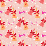 Wedding seamless pattern with elegant bells with hearts and bow. Vector pink wedding seamless pattern with elegant wedding bells with hearts and bow. Element for Royalty Free Stock Images