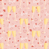Wedding seamless pattern glasses with champagne Royalty Free Stock Photo