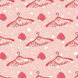 Wedding seamless pattern with hangers for bride Stock Photography