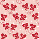 Wedding seamless pattern with hearts MR and MRS on a stick Stock Photo