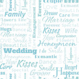 Wedding Seamless Pattern. Wedding or Honeymoon text word seamless pattern, metaphor to family, wife, kiss, bride, groom, engagement stock illustration