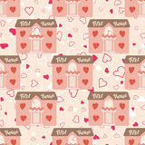 Wedding seamless pattern with house for newlyweds Stock Photography