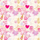 Wedding seamless pattern illustration with hearts and birds Royalty Free Stock Image