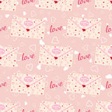 Wedding seamless pattern with letter decorated with lace and texture of hearts Stock Images