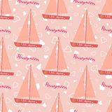 Wedding seamless pattern with sailing yacht Royalty Free Stock Photos