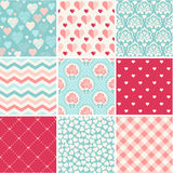 Wedding seamless patterns set. Seamless patterns collection - Romance, love and wedding theme royalty free illustration