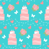 Wedding seamless romantic decorative pattern background with cartoon cake and elements on stylish background. For use in design for card, invitation, poster vector illustration