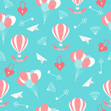 Wedding seamless romantic decorative pattern background with cartoon elements  on stylish background Royalty Free Stock Photography