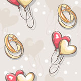 Wedding seamless texture with hearts and balloons wedding rings.  Royalty Free Stock Photo