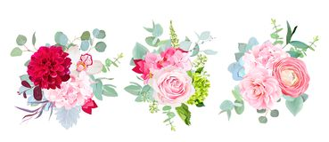 Wedding seasonal flowers vector design bouquets. Rose, dahlia, orchid, hydrangea, camellia, ranunculus, succulent, eucalyptus. Floral border composition.All Stock Photo