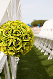 Wedding seat boquet. Wedding boquet used to reserve seats at an outdoor ceremony royalty free stock photo