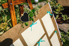 Wedding Seating Chart On The Easel In The Park. Close-up Image. Copy Space Stock Photos