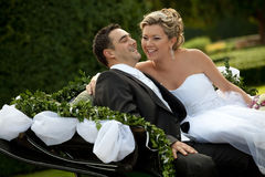Wedding series, carriage. Outdoor shot Stock Photography