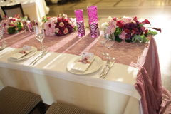 Wedding served decorated tables Royalty Free Stock Images