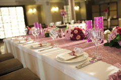 Wedding served decorated tables Stock Photos