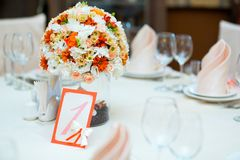 Wedding serving table decoration Royalty Free Stock Image