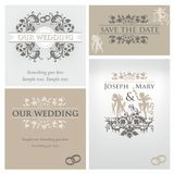Wedding set 1. Wedding design template with ornament and angels Stock Images