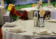 Wedding set. Untouched table setting prior to a wedding Royalty Free Stock Photography