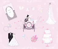 Wedding set. For the design and decoration - vector illustration Royalty Free Stock Image