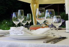 Wedding set 2. Untouched table setting prior to a wedding Stock Image