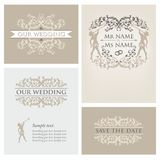 Wedding set 2. Wedding design template with ornament, invitation Royalty Free Stock Images
