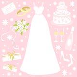 Wedding set. A cute wedding icons collection Royalty Free Stock Photos