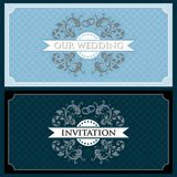 Wedding set 3. Wedding design template with ornament, invitation Royalty Free Stock Photos