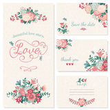 Wedding set. Beautiful vintage wedding set. Wedding invitation, thank you card, save the date cards. RSVP card Stock Photos