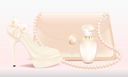 Wedding set Bride accessories Women's high-heeled shoes lady's beautiful lacquered handbag and a bottle of perfume. Wedding set Bride accessories Royalty Free Stock Images