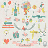 Wedding set. Bright wedding set with , gift box, cupcakes, cake, rings, bows and cute birds Stock Photography