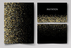 Wedding set cards with the abstract golden confetti backgrounds.Vector eps10. Wedding set cards with the abstract golden confetti backgrounds Stock Images