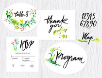 Wedding set of cards. Menu, map envelope, invitation templates. Floral pattern. Calligraphic inscriptions Royalty Free Stock Photos