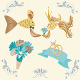 Wedding set with couple of fishes Royalty Free Stock Photos