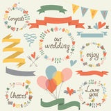 Wedding set. With cute floral wreaths, ribbons, hearts and balloons in cartoon style Stock Images