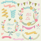 Wedding set. With cute floral wreaths, ribbons, hearts and laurels in cartoon style Stock Images
